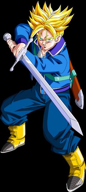 Desenho Trunks Dragon Ball Z colorido com fundo transparente
