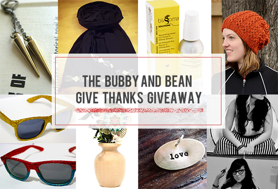 Win a $215 Prize Package of Handmade Goodies in the Bubby and Bean GIVE THANKS Giveaway!