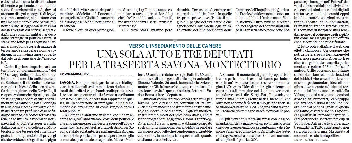 Alassiofutura savona roma il battesimo dei 5 stelle for Diretta da montecitorio