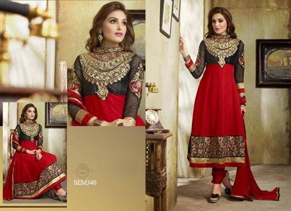 Buy Online Embroidery Georgette Long Anarkali Suit