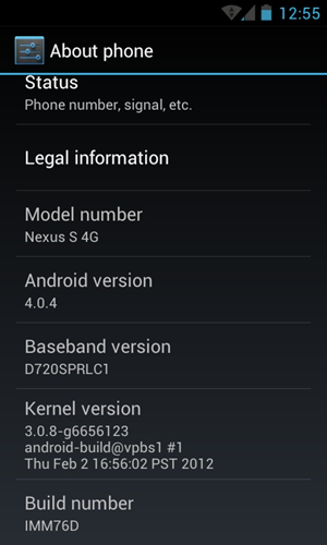 IMM76D Sprint Nexus S 4G Official Android 4.0.4 Firmware