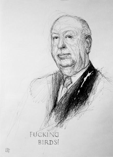 """Alfred Hitchcock"", ""Hitchcock"",""Pájaros"",""birds"",""dibujo"",""bolígrafo"",""pen"",""boli"",""draw"",""drawing"",""illustration"",""ilustración"""