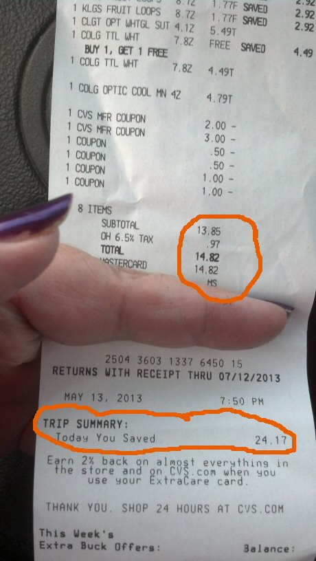 Shades of Safhire - Couponing Receipt