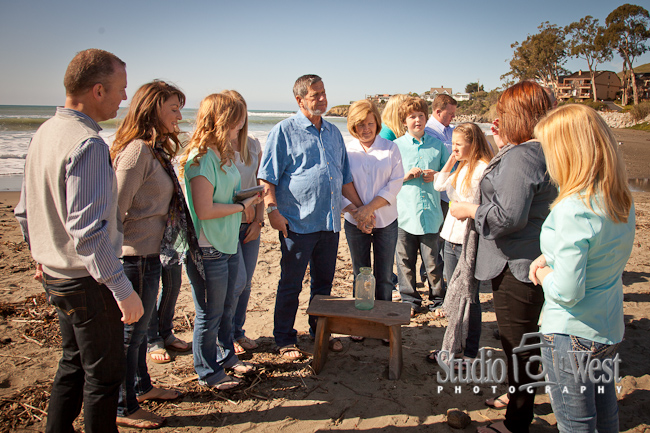 anaversery family reunion portrait, Cayucos beach photographer