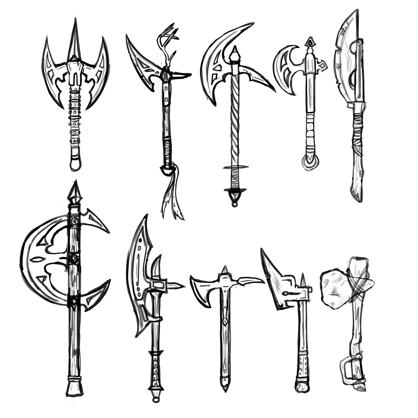 Medieval Weapons Drawings Sketch Coloring Page