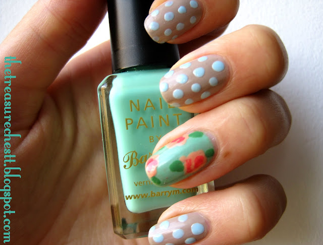 barry m mint green rose nails nail art polka dots essie brooch the subject nude nail polish