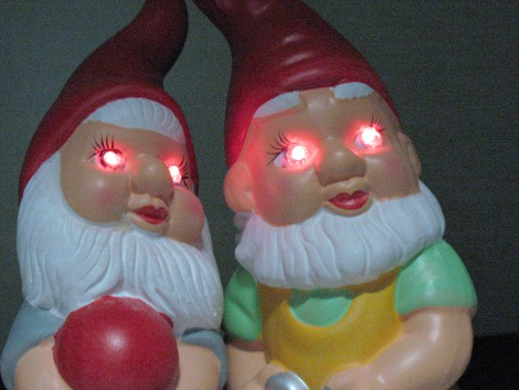 Want To Bring A Happy Little Garden Gnome Over To The Dark Side? An  Attitude Adjustment Can Be Had Just By The Addition Of Eerily Glowing Red  Eyes.