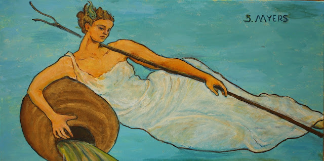 painting, blue, ocean, sea, personification, figure, S. Myers, Sarah Myers, art, arte, water, baroque, woman, recline, acrylic, pintura