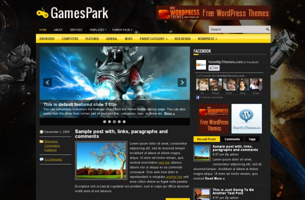 Free Wordpress Black Yellow Games Theme Template