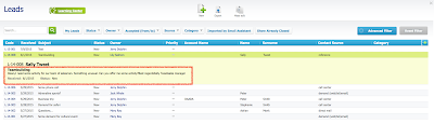 Screenshot mit Übersicht über Leads in RAYNET Cloud CRM