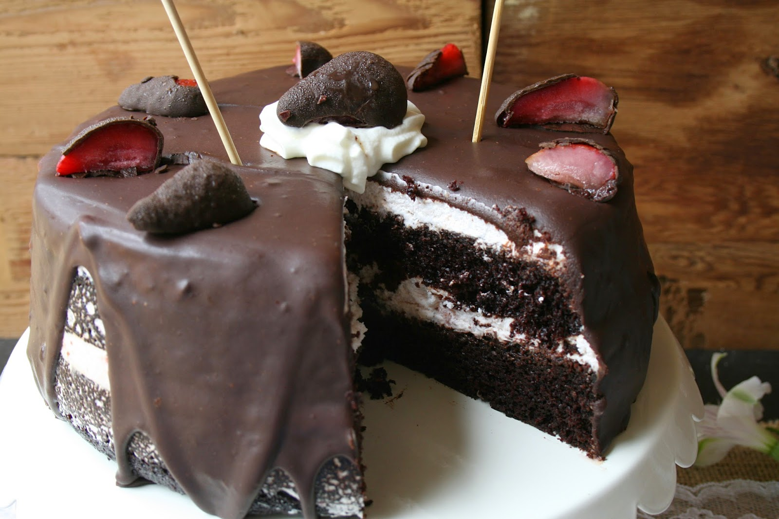 ... Dark Chocolate Cake with Strawberry Mousse Filling & Chocolate Ganache