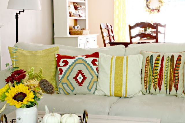 Target southwest throw pillow and multi feathers throw pillow in fall decor-www.goldenboysandme.com