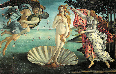 Aphrodite on a scallop shell in the Botticelli classic painting