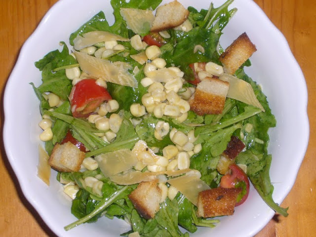 Arugula, Corn, & Tomato Salad with Gouda
