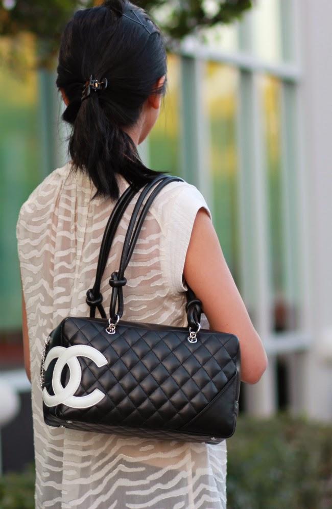 chanel cambon line designer bowler bag