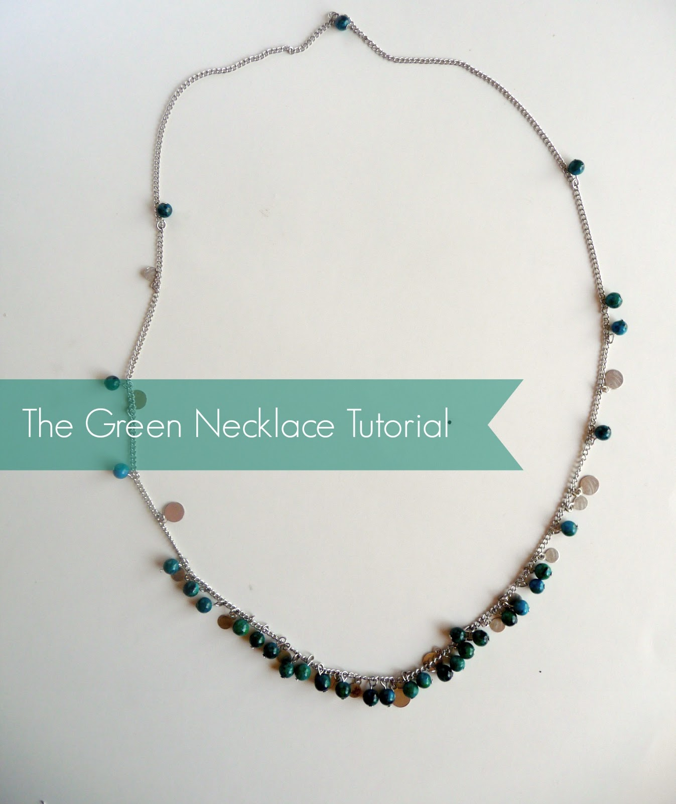DIY green beaded necklace jewelry tutorial
