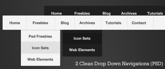 2 Clean Drop Down Navigation's (PSD)