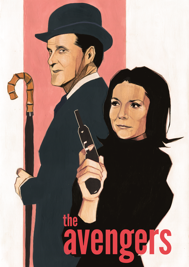 Vintage poster John Steed and Emma Peel illustration
