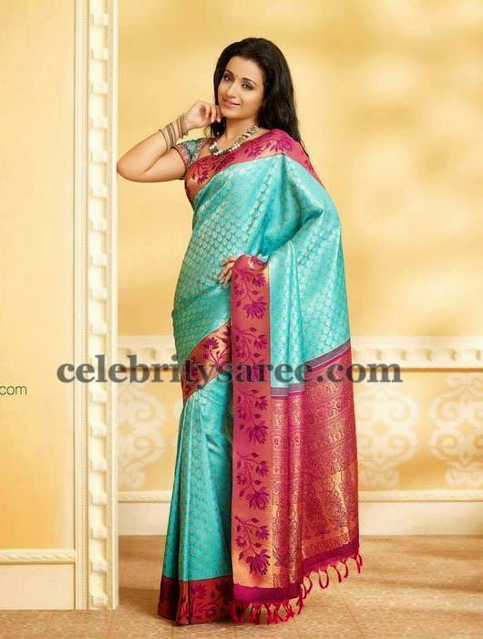 Trisha Sky Blue Silk Saree