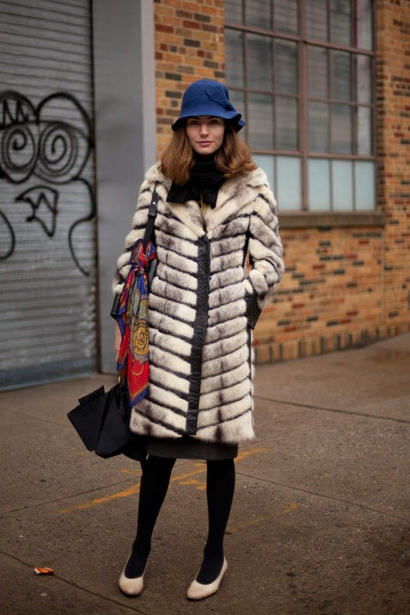 new york street style black tights fur coat blue hat new york fashion week donna karen womens street style winter fashion