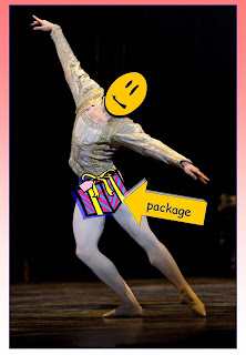 "Image of Vadim Muntagirov in London  production of Swan Lake, balletnews.co.uk, Fair Use; additional free-use clip art, airbrushing, composite by Vic Dillinger 2015 for ""Package Enhancing Tights"""