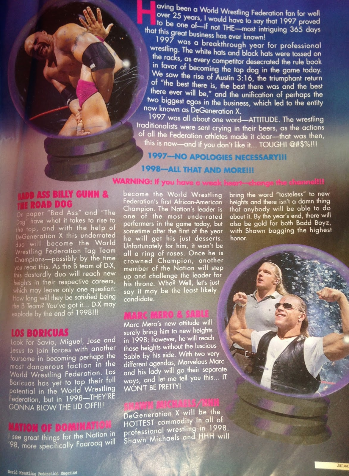 WWF MAGAZINE - JANUARY 1998 - 1998 predictions