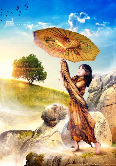 child with umbrella by ryan mahendra
