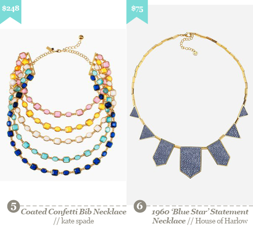 5. kate Spade -  coated confetti bib necklace, 6. House of Harlow - 1960 'Blue Star' Statement Necklace