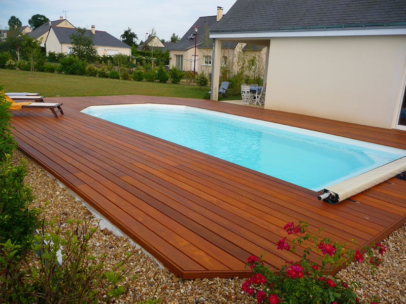 Fiberglass Pool with Deck Wood