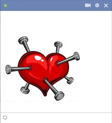 heart stabbed with nails Emoticon Facebook Terbaru