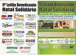 """9º LEILÃO BENEFICENTE """"NATAL SOLIDÁRIO"""" DA FAZENDA  TRÊS MARIAS"""