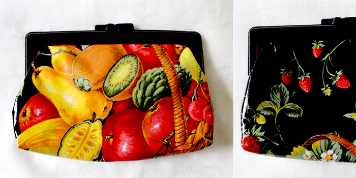 vintage fruit print clutch bag at cutandchicvintage