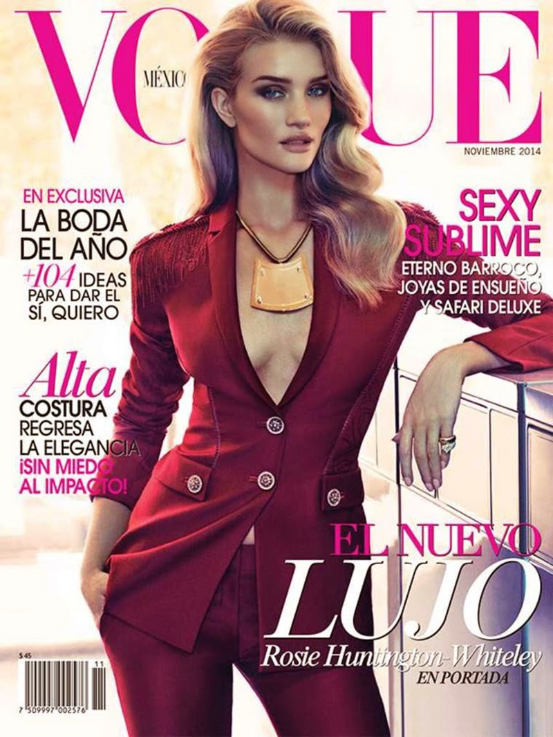Rosie Huntington-Whiteley On The Cover Of  Vogue Mexico November 2014 Photoshoot