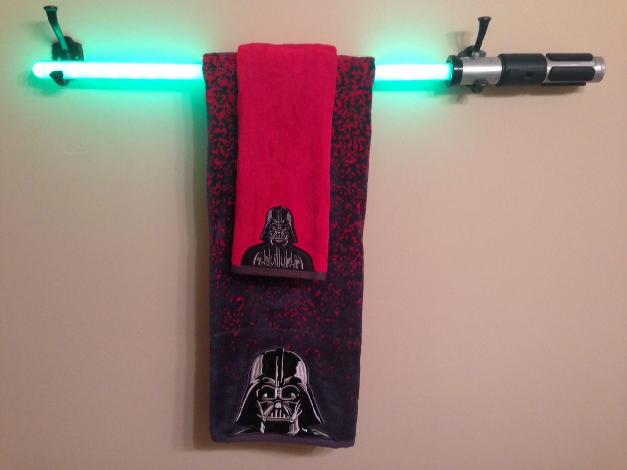 star wars bathroom makeover with a diy light saber towel bar tutorial dallas mom blog and fort. Black Bedroom Furniture Sets. Home Design Ideas