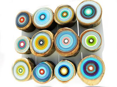 Modern art, tree ring painting, modern ring art, rustic modern art