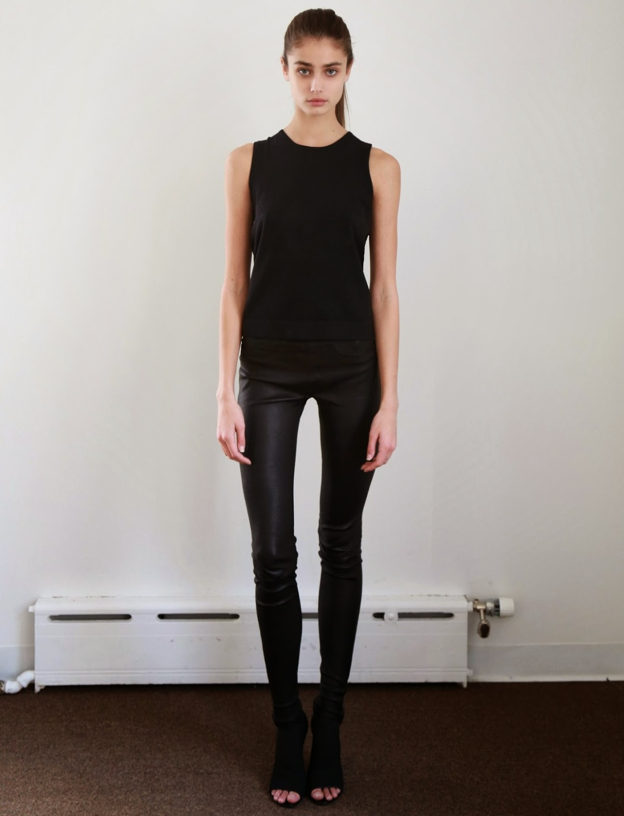 all black leather pants open toe booties simple cool