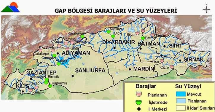 Gap B�lgesi Barajlar� ve Su Y�zeyleri Haritas�