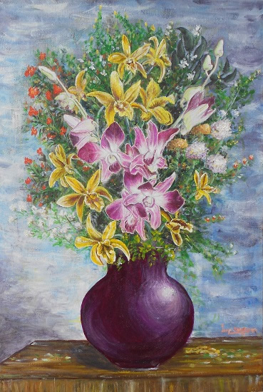 Vase of Orchids, painting by Lasya Upadhyaya (part of her portfolio on www.indiaart.com)