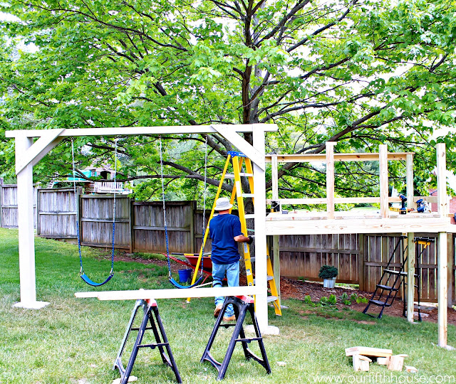 building a swing set and playhouse