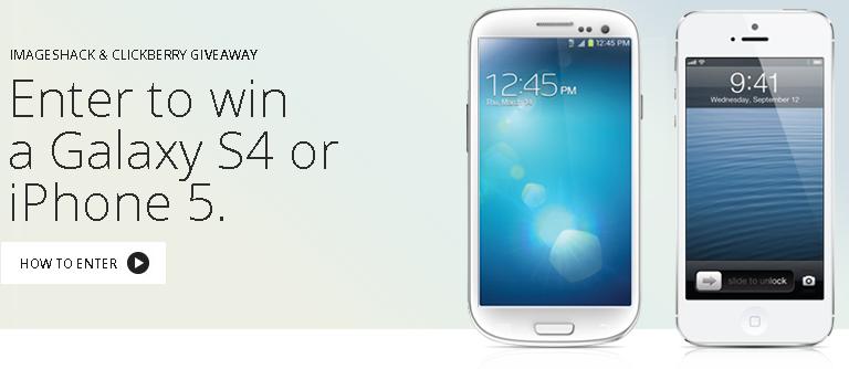 Portada de la web del sorteo de un Samsung Galaxy S4 y un iPhone 5 por parte de Imageshack y Clickberry