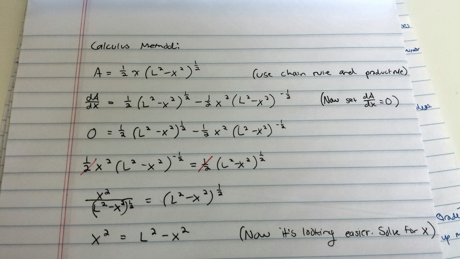 I Found The Derivative Of The Area Equation, And Used The Methods Of The  First Derivative Test To Find The Value Of X
