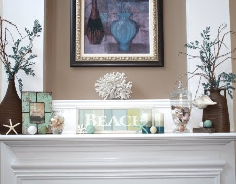 mantel decor in blue