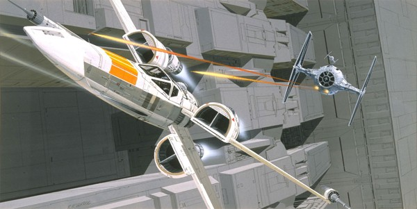 tie fighter chases x wing concept art