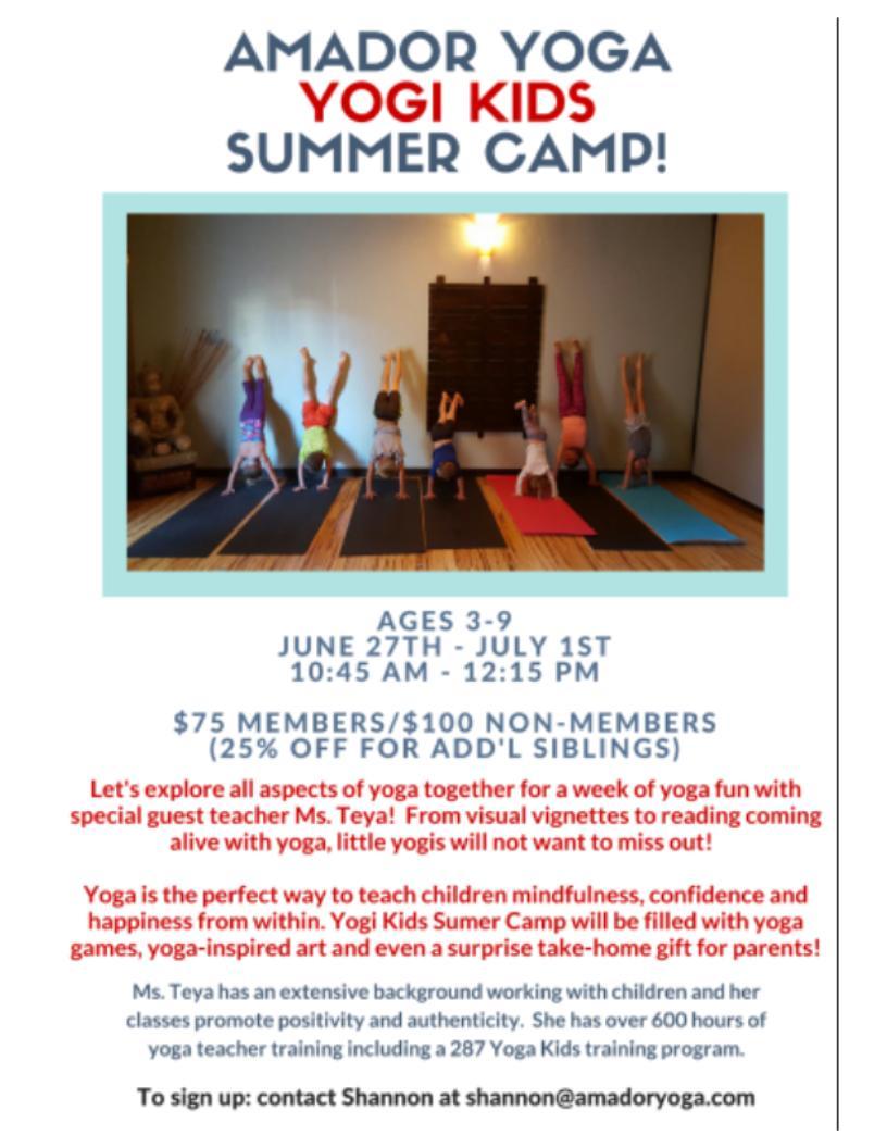 Amador Yoga Yogi Kids Summer Camp - June 27-July 1