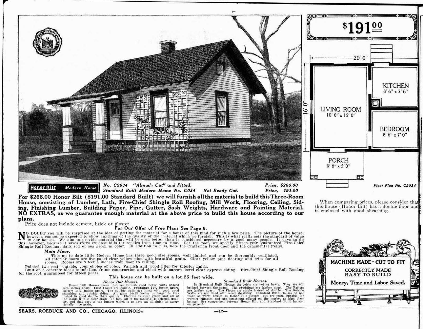 Catálogo casas prefabricadas Sears, Roebuck and Co., modelo económico