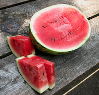 watermelon cut up & ready to eat