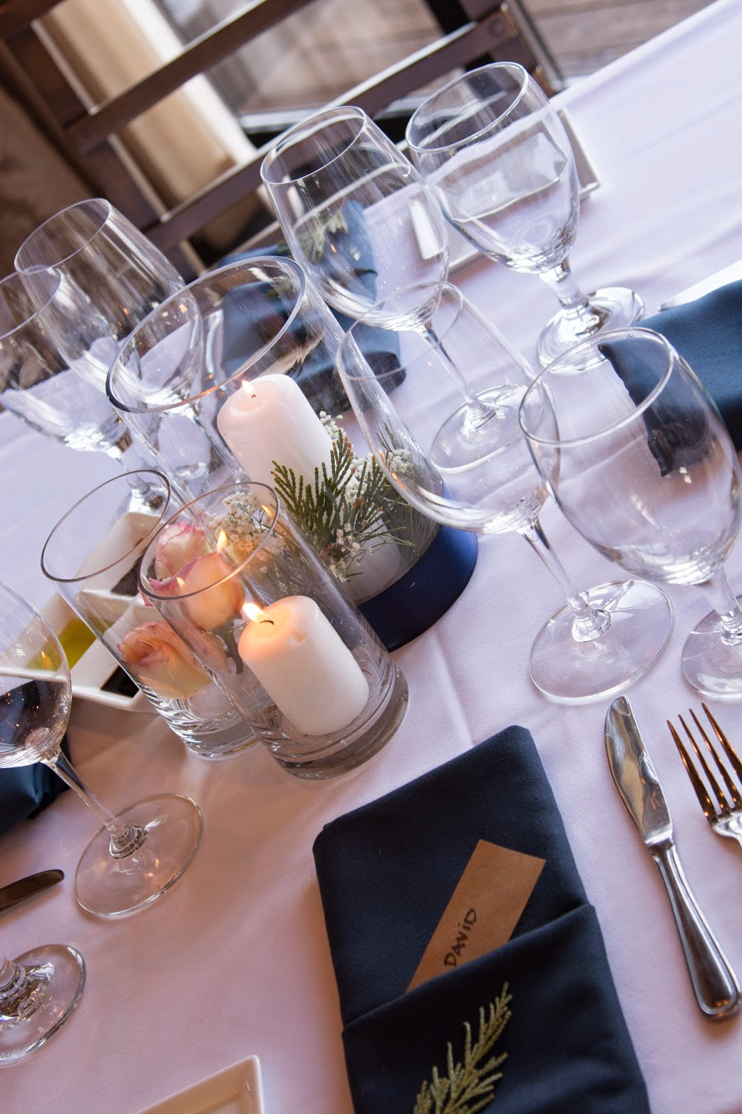 Simple cylinder and candle wedding centerpieces / Sierra Bridal and Blooms / Take the Cake Events