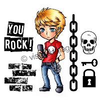 teenage boy character stamp chain skulls