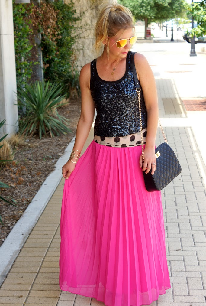 Bright Pink Pleated Maxi Skirt