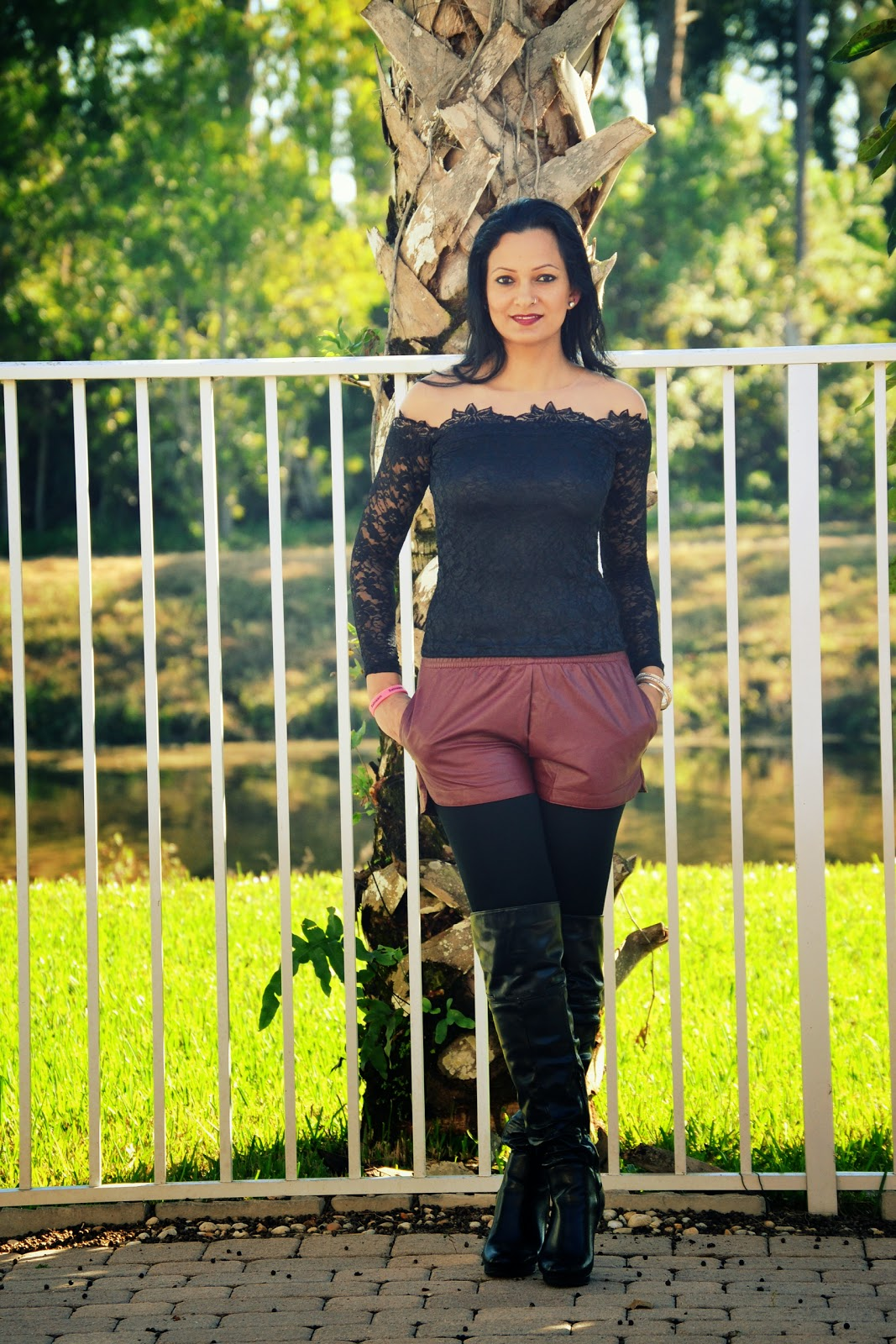 black lace top long sleeve top burgundy leather shorts leggings thigh high boots www.sandysandhu.co